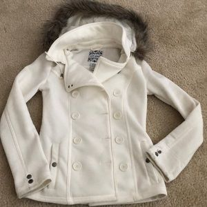 Ivory Pea Coat with Removable Fur Hood